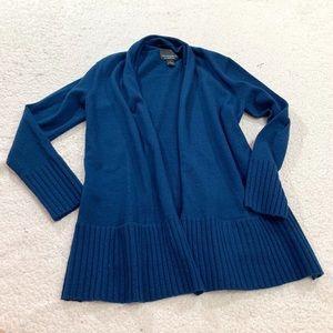 Cynthia rowley navy blue wool open front cardigan